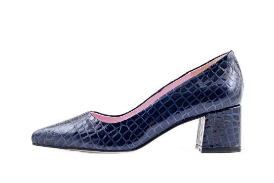 Zapato saloon charol a cuadros azul